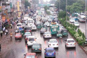 Rainy afternoon traffic