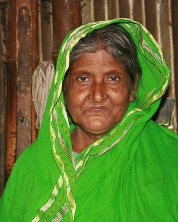Brightly clad Bengali grandmother.