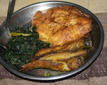 Fish, eggs, and leafy vegetable