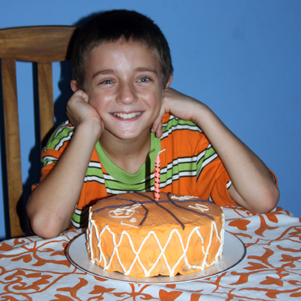 Jensen, with cake he decorated.