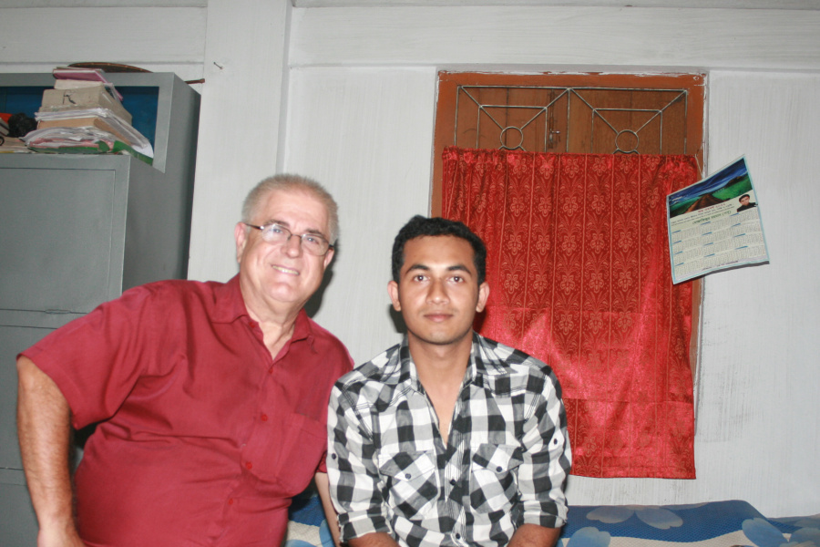 Shumon with me in his home.