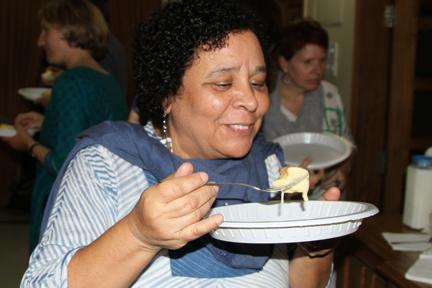 Diane, the first to enjoy the Swiss Fondue!