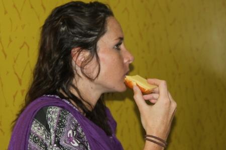 Vicki enjoying some cheese.