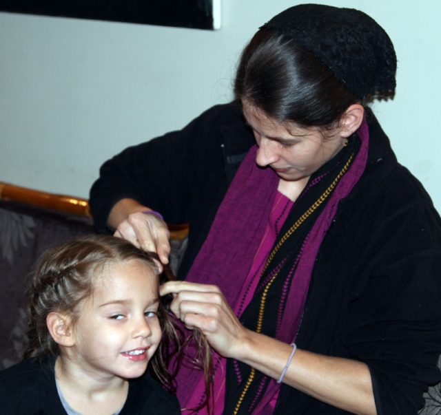 Moriah getting some special braiding!