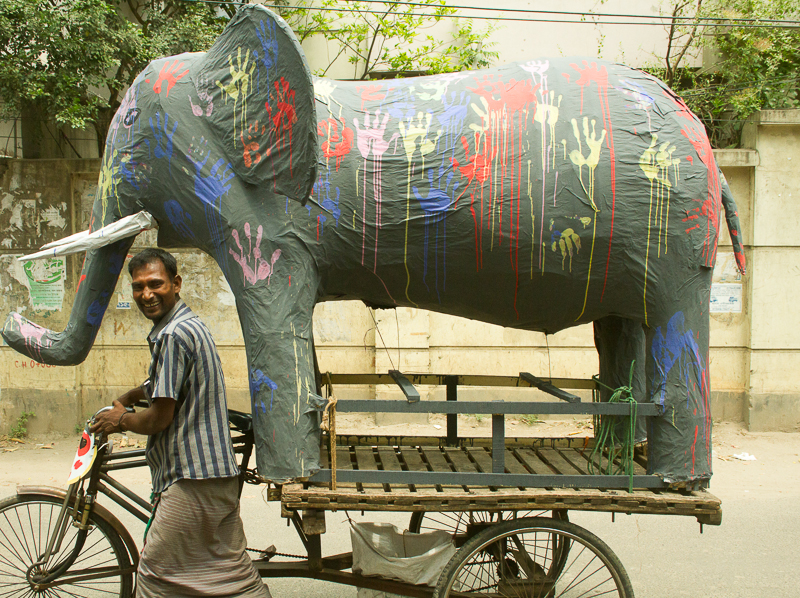 Elephant on Rickshaw Van