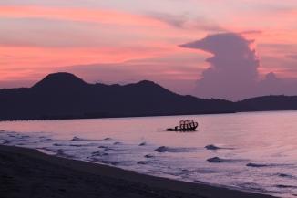 Boat Sunrise Scene